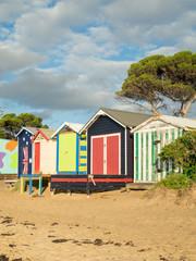 Colourful bathing boxes in Mornington on the Mornington Peninsula