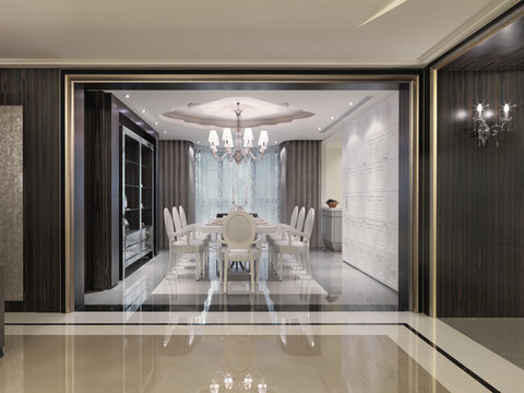 Large white dining room table in elegant modern dining room