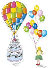 auguri compleanno bambina con mongolfiera