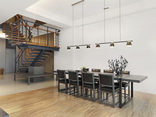 Dining table and staircase in a modern house