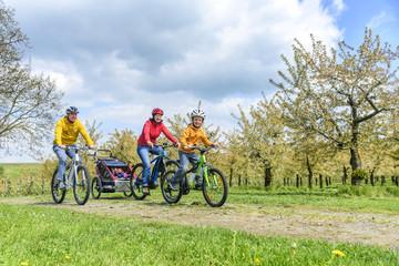 Familie mit dem Rad in den blühenden Obst-Hainen am Bodensee unterwegs