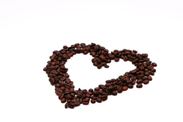 Drawing of coffee beans on white background - Heart