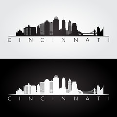 Cincinnati USA skyline and landmarks silhouette.