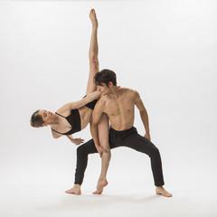 Man and woman ballet dancing