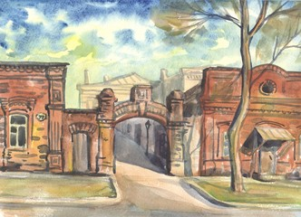 Street of the old town. Original watercolor painting