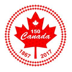 Canada 150 in circle maple leaf frame