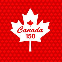 Canada 150 on maple leaf background