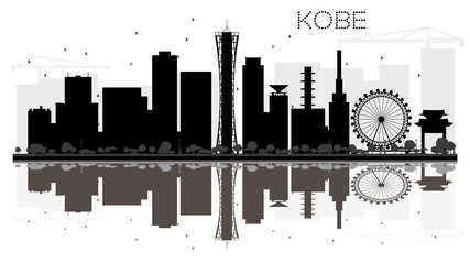 Kobe City skyline black and white silhouette with reflections.