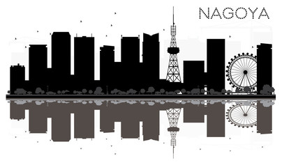 Nagoya City skyline black and white silhouette with reflections.