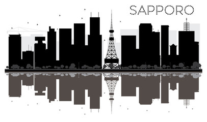 Sapporo City skyline black and white silhouette with reflections.