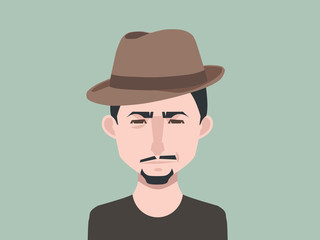 Male avatar icon in flat style. Male user icon. Cartoon man avatar. Hipster man avatar. Vector stock.