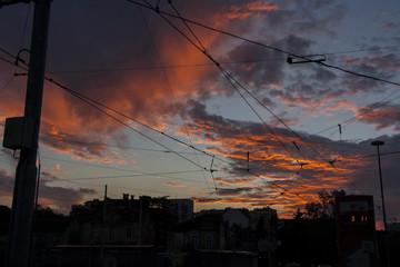 Sunset skyline over the city