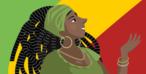 happy cute beautiful african rasta dreadlocks girl with red green and yellow flag