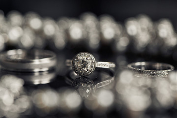 Blurred picture of sparkling wedding rings