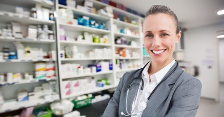 Composite image of a doctor in a pharmacy