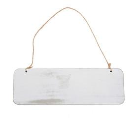 weißes Holz Schild mit einem Strick zum Aufhängen