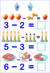 Educational page for children with exercises on subtraction. Need to solve examples and to write the answers. Developing skills for counting. Vector image.
