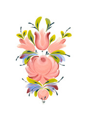 Vector. Russian traditional floral ornament. Pink rose, tulip, branch,foliage on white background. Karelian folk motif.Hand drawing gouache