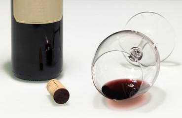 Fallen empty red wine cup