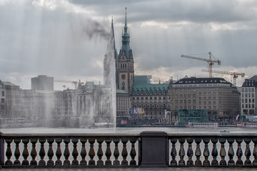 Hamburg Panorama in springtime