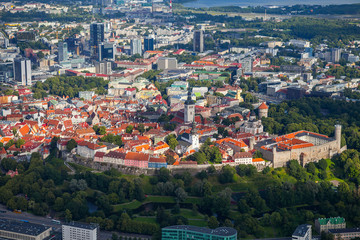 Aerial view from helicopter at old town of Tallinn, Estonia.