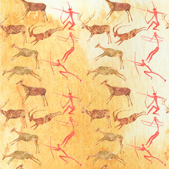 Cave Painting Seamless Pattern. Hunting scene background.