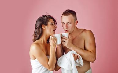 Coffee couple. Love couple. Coffee cups.