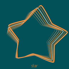 Outline star from thin contour lines. Vector