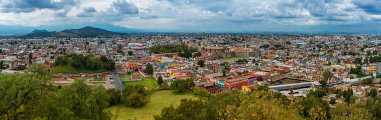 Aerial view of Cholula in Puebla, Mexico