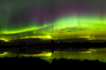 Aurora over lake