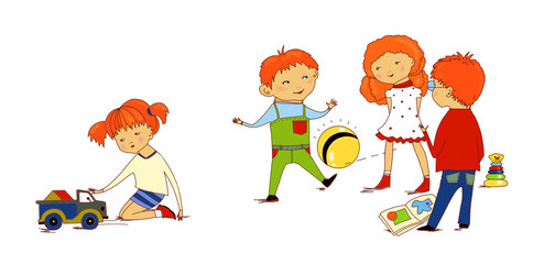 Children's friendship and unfriendlinessб Three standing children digest and play the ball, the girl sits on the side and plays with the truck. On a white background