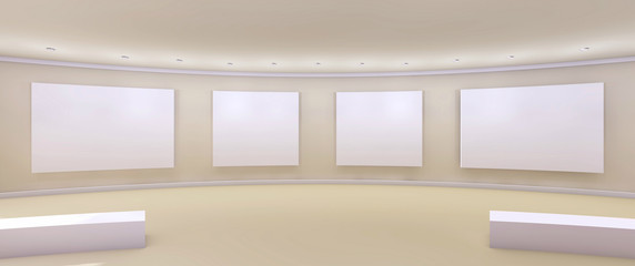 Contemporary Art Gallery Display and Clean with White wall / 3d rendering