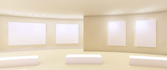 Works of Arts and Gallery minimal Clean with White wall / 3d rendering