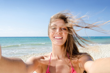 Young girl selfie photo