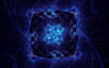 Blue portal in space