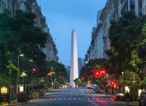 Night view of the center of Buenos Aires, Argentina