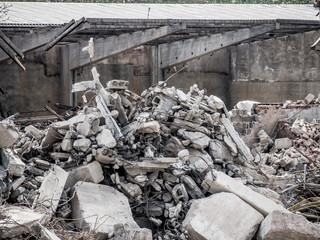 Bauschutt von Abriss Gebäude