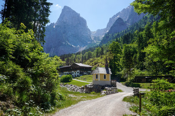 A small chapel at the foot of the Wilder Kaiser Alps in Austria