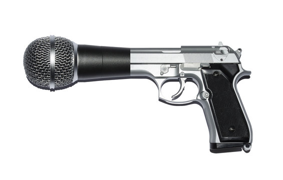 Speak truth to power. Gun, microphone hybrid.