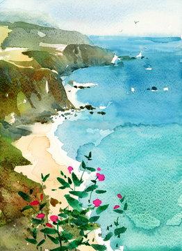Watercolor Ocean Coast California Coastline Flowers Hand Painted Illustration