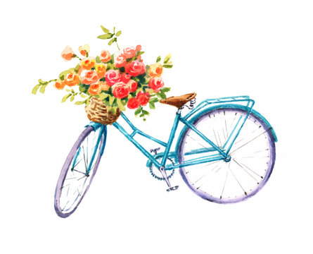 Watercolor Blue Bicycle With Beautiful Flower Basket Hand Painted Summer Bike Illustration isolated on white background