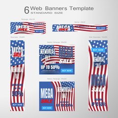 Web banners of Memorial Day vector set of standard size on the gradient gray background.