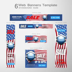 6 web banners vector set of Memorial Day sale of standard size on the gradient gray background.