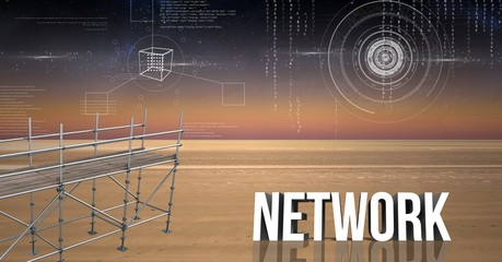 Network Text with 3D Scaffolding and landscape