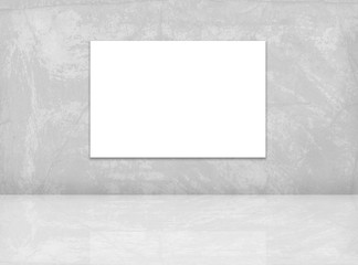 Mock up poster template. Blank canvas on the grey wall. 3D rendering.