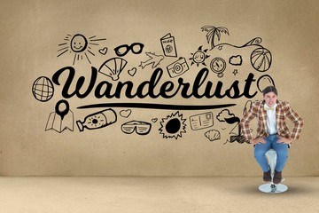 Composite image of wanderlust and drawings