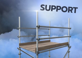 Support Text with 3D Scaffolding in mysterious clouds