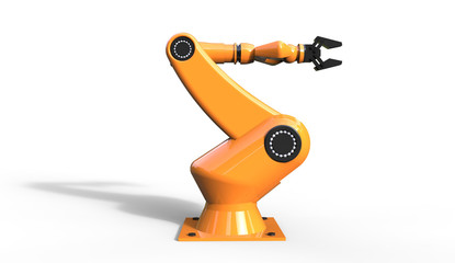 3d rendering of cool industrial robotic arm on  a white background