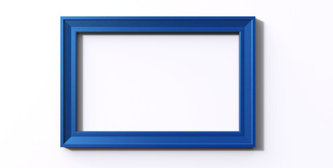3d rendering of modern isolated hanging blue color photo frame on a white  background