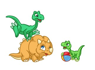 Three baby dinosaurs play cartoon illustration